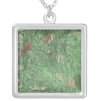 Land Classification Map of California Silver Plated Necklace