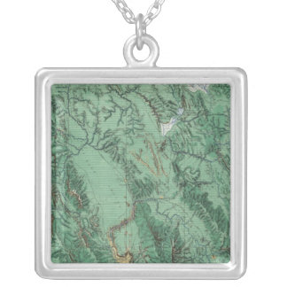 Land Classification Map of Idaho Silver Plated Necklace