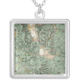 Land Classification Map of Nevada Silver Plated Necklace