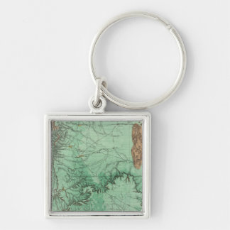 Land Classification Map of New Mexico Silver-Colored Square Keychain