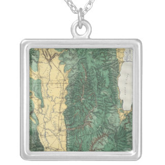 Land Classification Map of North Eastern Utah Silver Plated Necklace