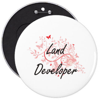 Land Developer Artistic Job Design with Butterflie Button