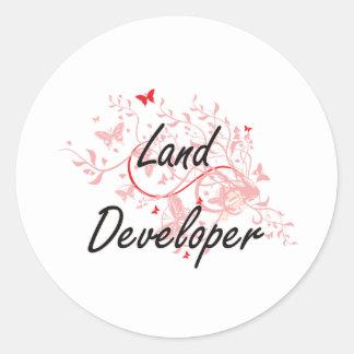 Land Developer Artistic Job Design with Butterflie Classic Round Sticker