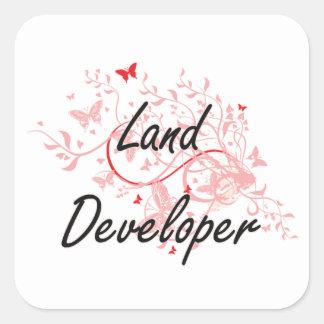 Land Developer Artistic Job Design with Butterflie Square Sticker