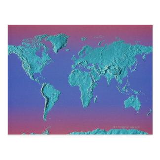 Land Mass Map Post Card