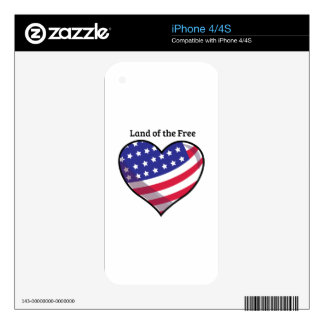 Land Of Free Decal For iPhone 4