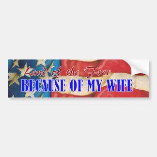 Land of Free Wife Bumper Sticker