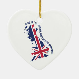 Land of Tea, Queues, and Excessive Politeness Double-Sided Heart Ceramic Christmas Ornament