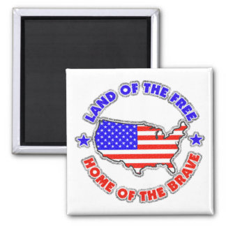Land of the Free 2 Inch Square Magnet