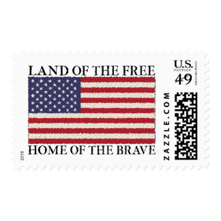 Land Of The Free American Flag US Postage Stamps