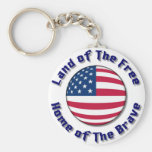 Land of The Free Basic Round Button Keychain