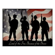 Land of the Free Because of the Brave 24 x 18 Poster