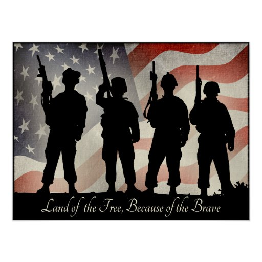 Land of the Free Because of the Brave 24 x 18 Posters