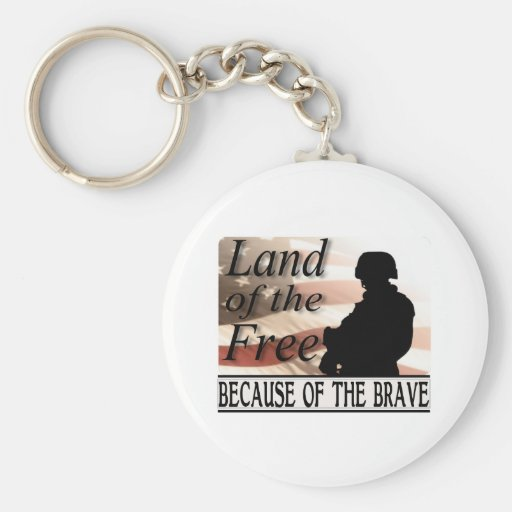 Land of the Free Because of the Brave Basic Round Button Keychain