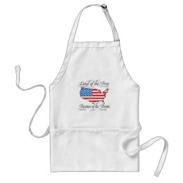 Land of the Free because of the Brave Patriotic US Adult Apron