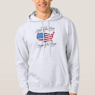 Land of the Free because of the Brave Patriotic US Hoodie