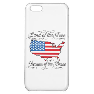 Land of the Free because of the Brave Patriotic US iPhone 5C Cover