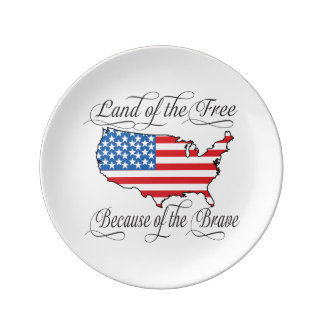 Land of the Free because of the Brave Patriotic US Porcelain Plates