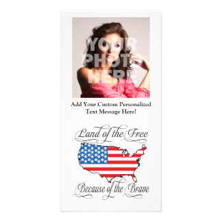 Land of the Free because of the Brave Patriotic US Photo Card