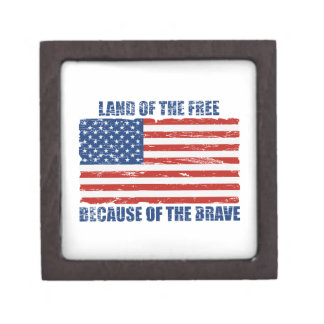 Land Of The Free Because Of the Brave Premium Trinket Box