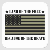 Land of the Free Camo American Flag Square Sticker