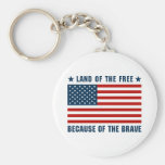 Land of the Free Flag Basic Round Button Keychain