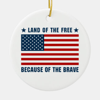 Land of the Free Flag Ornaments