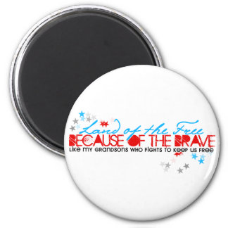 Land of the Free: Grandsons 2 Inch Round Magnet
