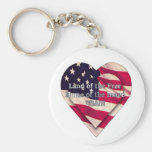 Land of the Free Home of the Brave Basic Round Button Keychain