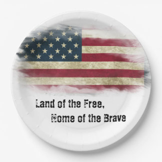Land of the Free, Home of the Brave. US Flag Paper Plate