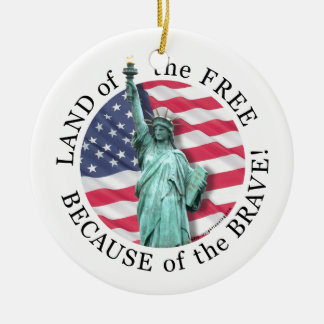 Land of the Free... Double-Sided Ceramic Round Christmas Ornament