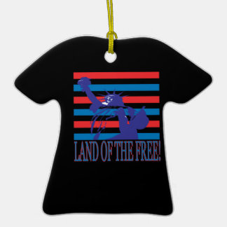 Land Of The Free Double-Sided T-Shirt Ceramic Christmas Ornament