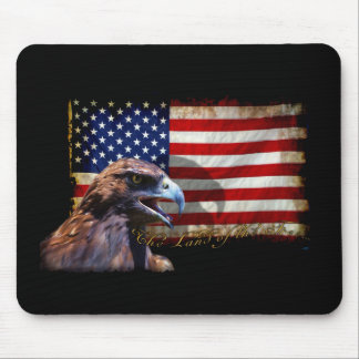 Land of the Free Patriotic US Flag and Eagle Mouse Pad