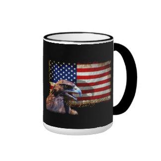 Land of the Free Patriotic US Flag and Eagle Ringer Mug