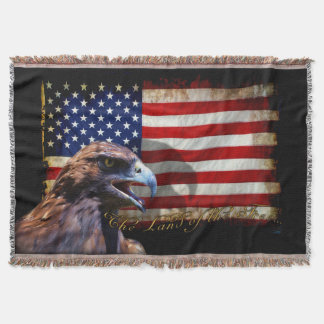 Land of the Free Patriotic US Flag and Eagle Throw Blanket