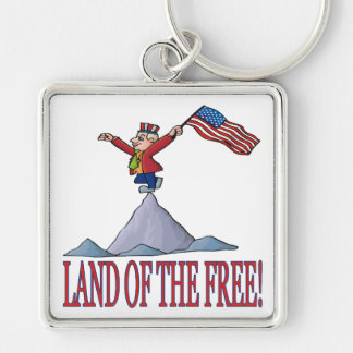 Land Of The Free Silver-Colored Square Keychain