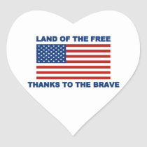 Land Of The Free Thanks To The Brave Heart Sticker