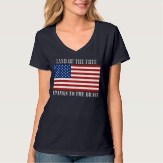 Land Of The Free Thanks To The Brave US Flag Tee Shirt