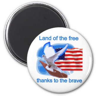 Land of the Free Tshirts and Gifts 2 Inch Round Magnet