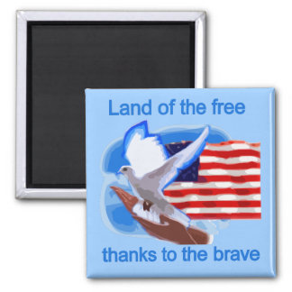 Land of the Free Tshirts and Gifts 2 Inch Square Magnet