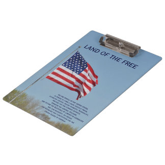 Land of the Free USA Flag Clipboard by Janz