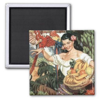 Land of Tropical Splendor 2 Inch Square Magnet