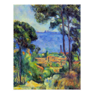 Land scape by Paul Cezanne Poster