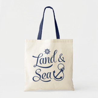 Land & Sea Blue Nautical Text Design Tote Bag