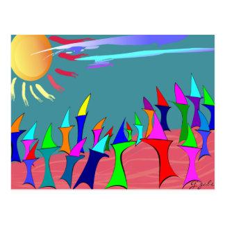 Land Sharks Family Reunion~~Whimsical Art Postcard