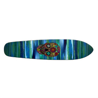 Land Sky & Sea abstract & digital floral skull Art Skateboard Deck