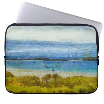 Beach Themed Land strip in water computer sleeve