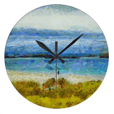 Land strip in water large clock