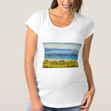 Beach Themed Land strip in water maternity T-Shirt
