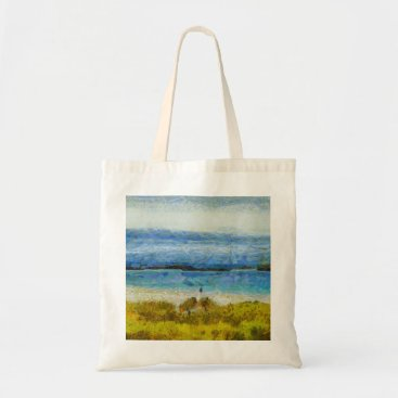 Beach Themed Land strip in water tote bag